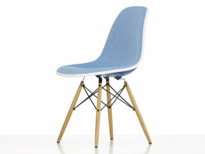 View Vitra Upholstered DSW Eames Plastic Side Chair Navy Blue