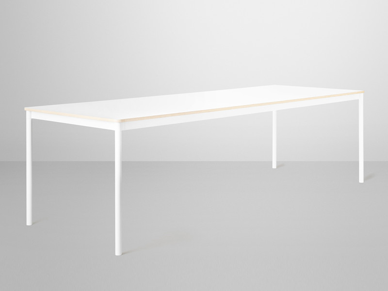 white laminate extending dining table top oval base with plywood edges
