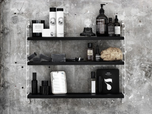 String Plex Pocket Shelving Black Ash