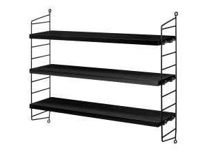View String Pocket Shelving Black Ash