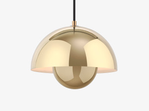 View &Tradition FlowerPot VP1 Pendant Light Metallic