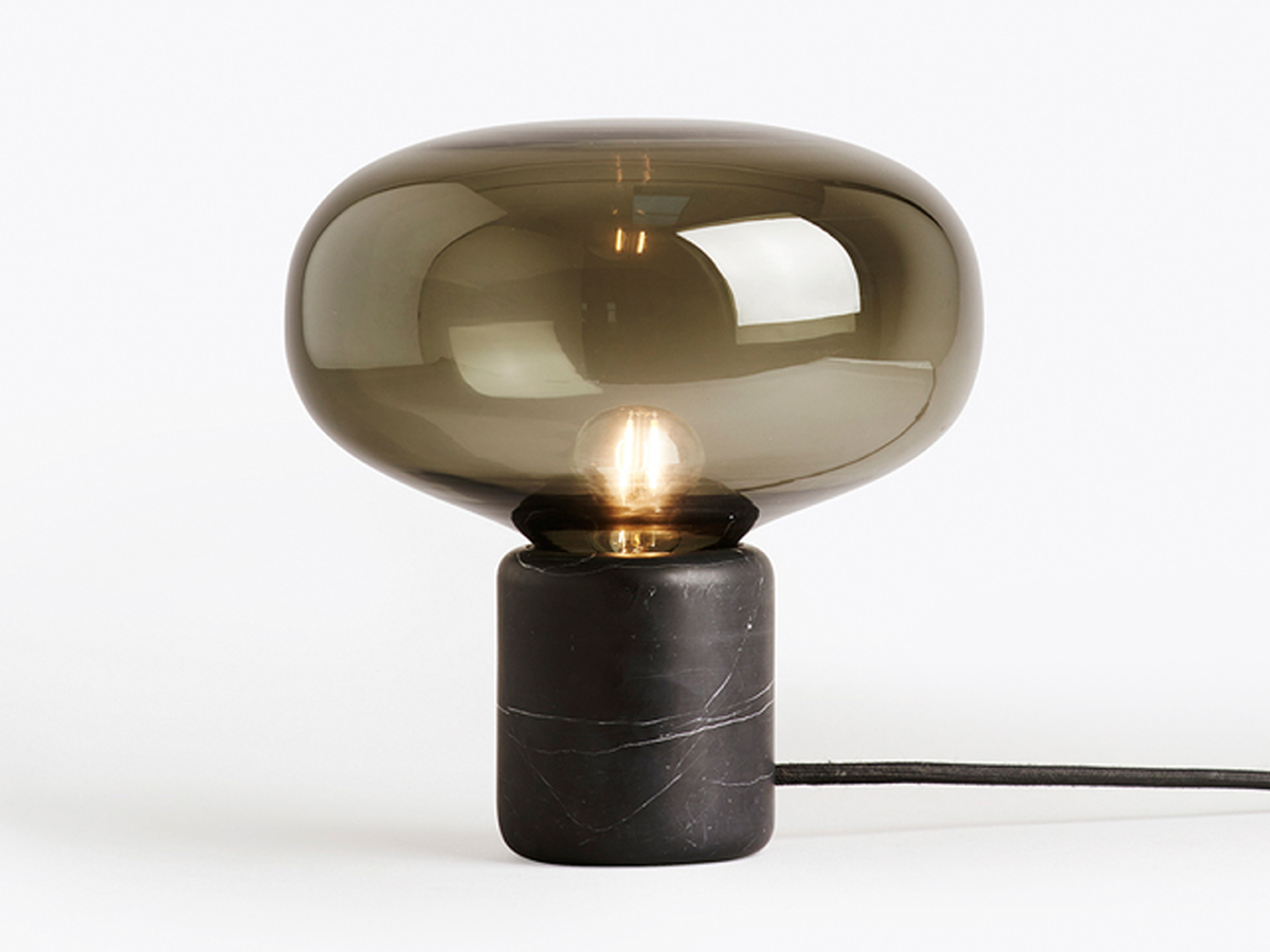 contemporary table lighting. New Works Karl-Johan Table Lamp Black Marquina Marble Contemporary Lighting