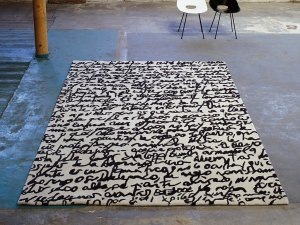 nanimarquina Manuscrit Black on White Rug