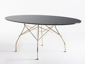 View Kartell Glossy Oval Dining Table with Glass Top