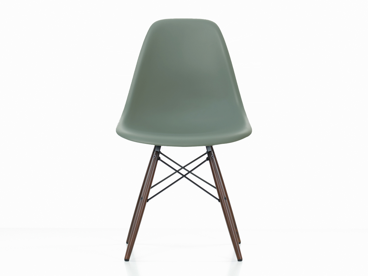 buy the vitra dsw eames plastic side chair dark maple base at. Black Bedroom Furniture Sets. Home Design Ideas