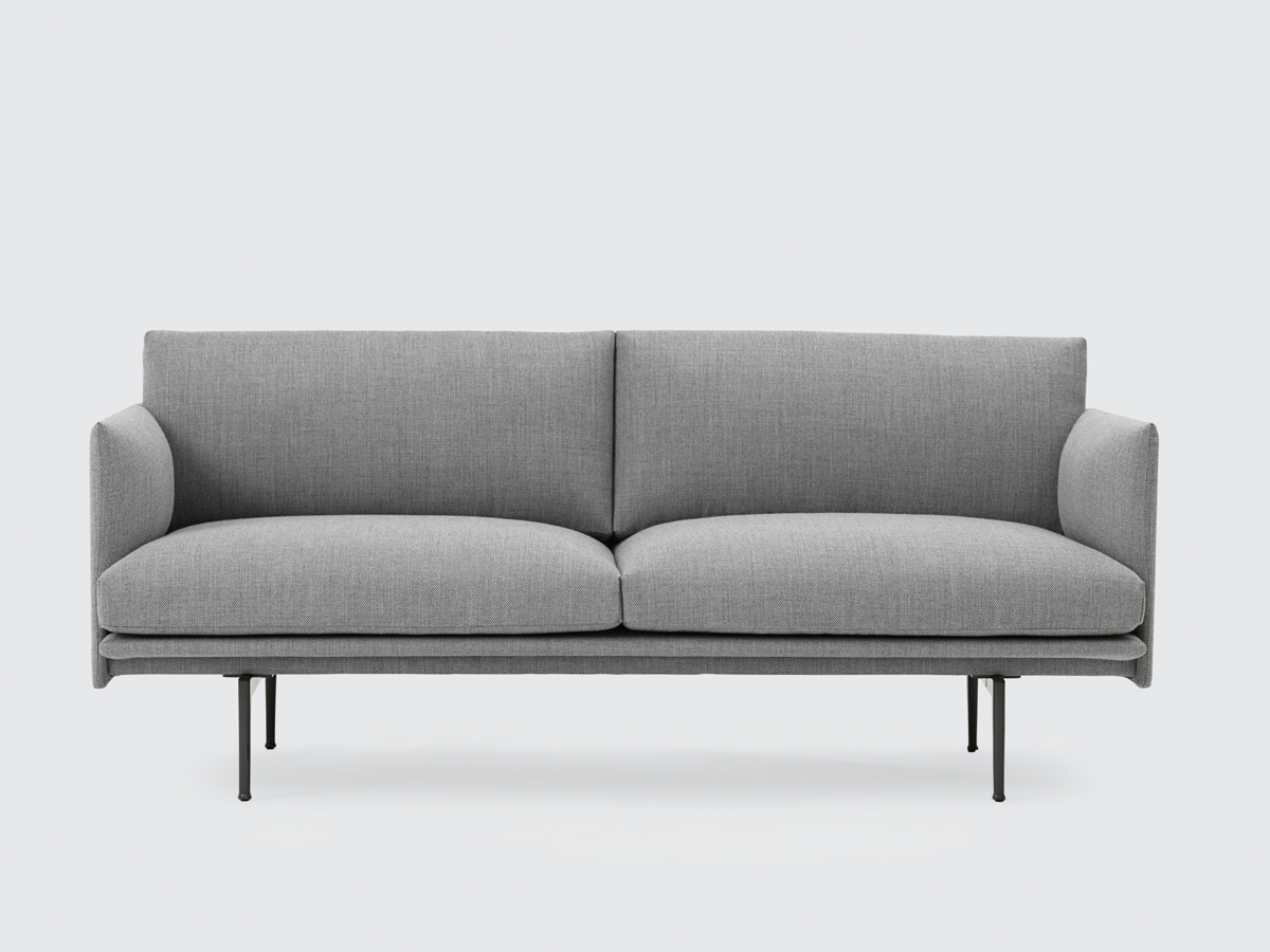 view muuto outline two seater sofa in fiord fabric