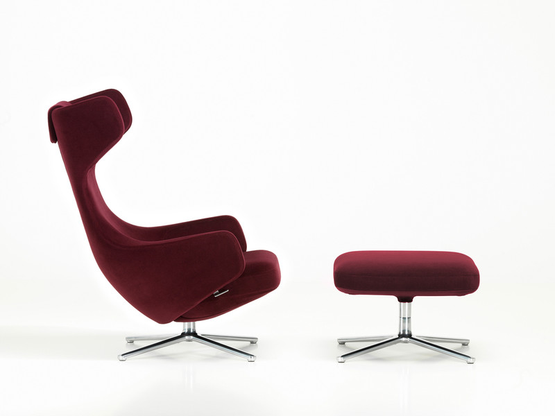 Vitra Limited Edition Grand Repos & Ottoman in Nobile Velour