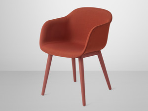 View Muuto Fiber Armchair Wood Base with Fabric Seat