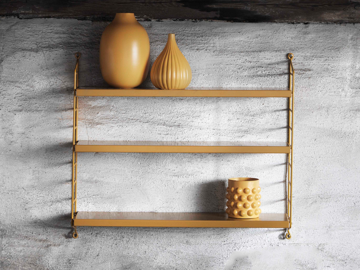 buy the string pocket shelving mustard at. Black Bedroom Furniture Sets. Home Design Ideas