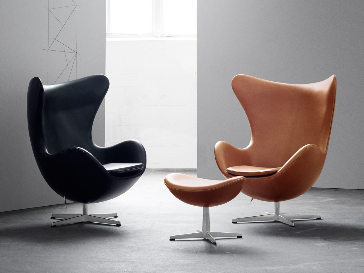 chair with footstool. fritz hansen egg lounge chair - leather with footstool v