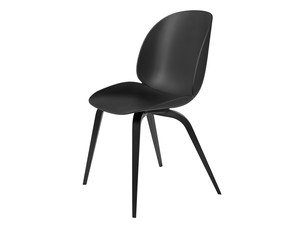 View Gubi Beetle Dining Chair Unupholstered Black Wood Base