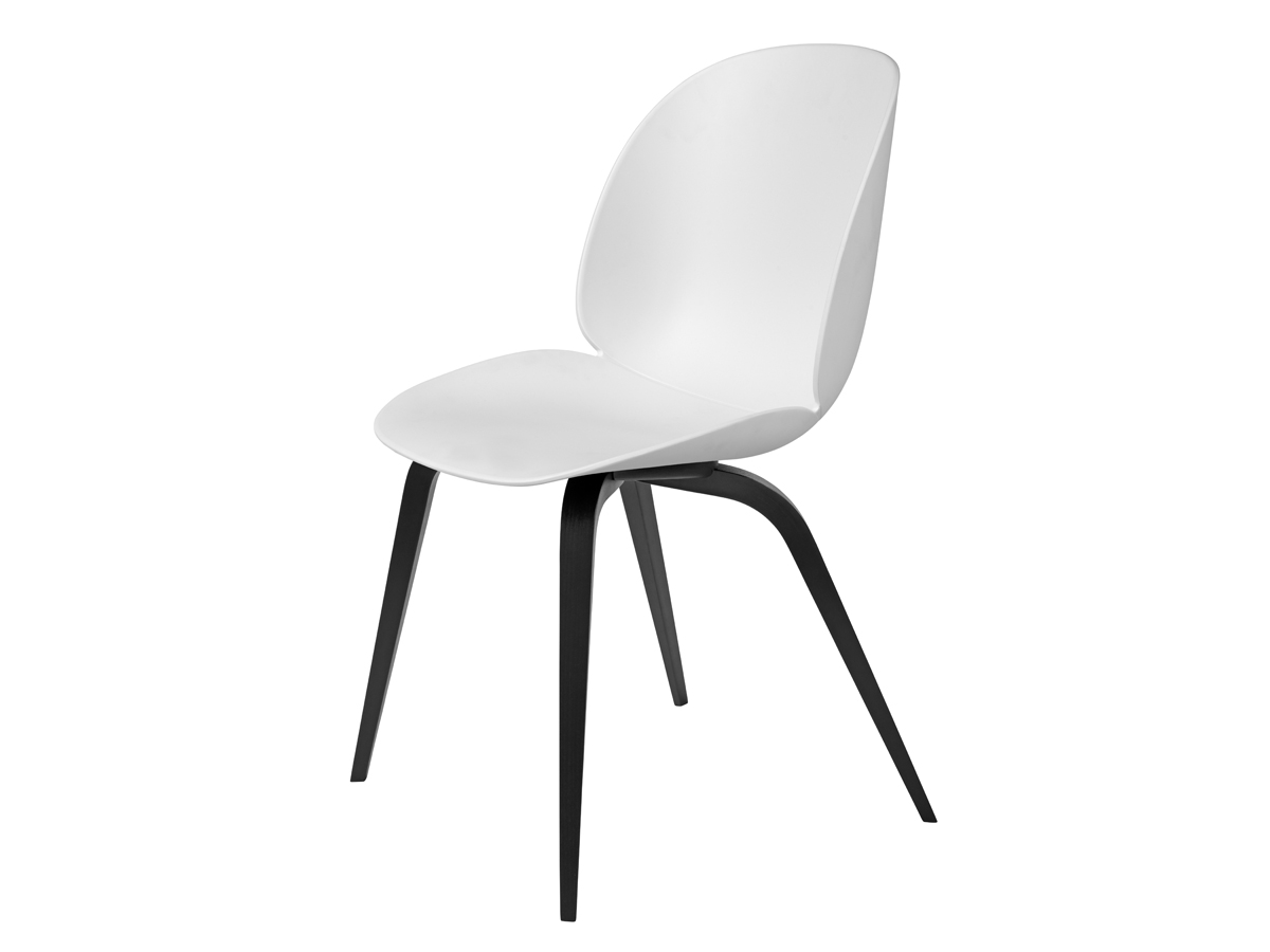 Buy the Gubi Beetle Dining Chair Unupholstered Black Wood ...