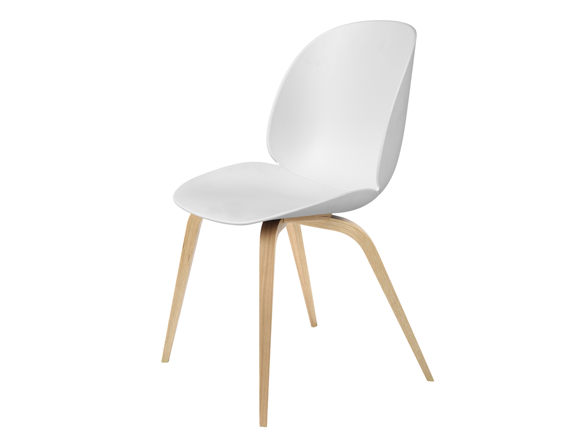 Buy the gubi beetle dining chair unupholstered oak base in for White wood upholstered dining chairs