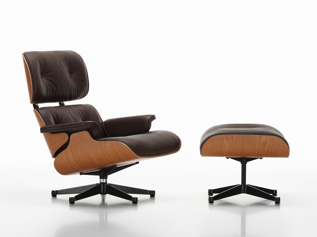 buy the vitra eames lounge chair ottoman american cherry at. Black Bedroom Furniture Sets. Home Design Ideas
