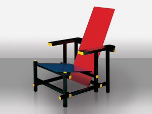 View Cassina 635 Red and Blue Chair