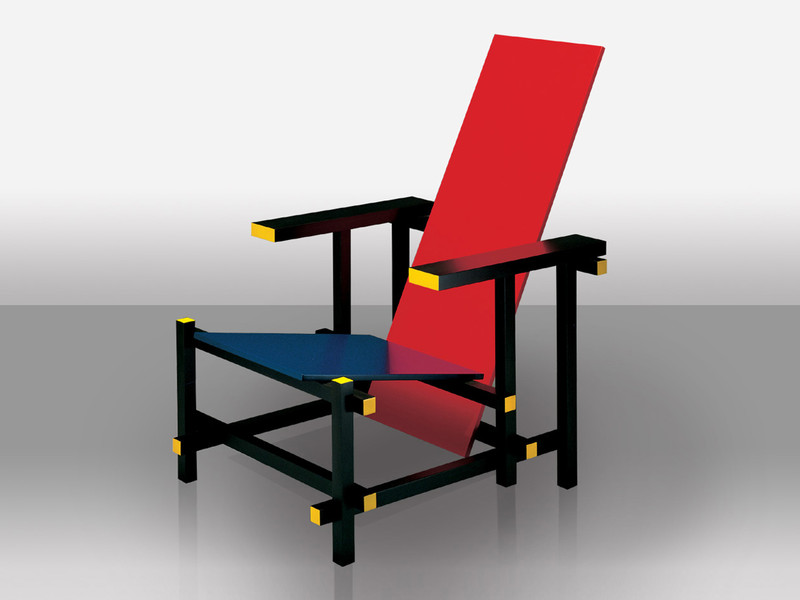 Cassina 635 Red And Blue Chair