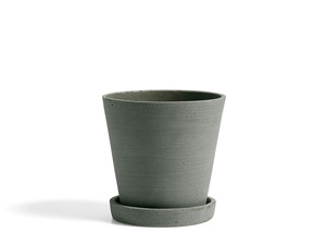 Hay Flowerpot with Saucer Green