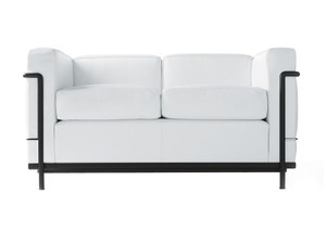 View Cassina LC2 Two Seater Sofa - Black Frame - Leather