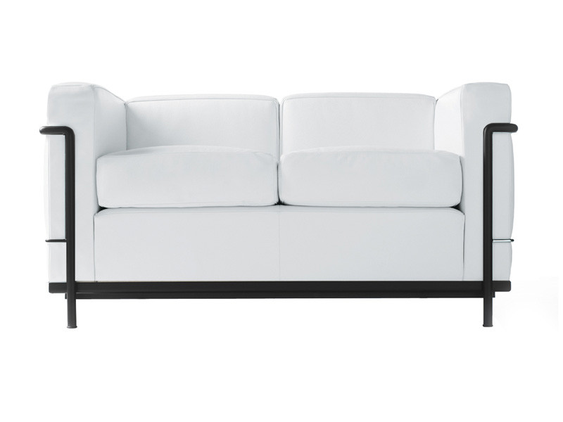 Cassina LC2 Two Seater Sofa - Black Frame - Leather