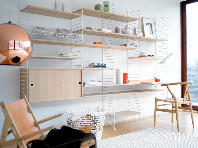 String Shelf System - Oak & White