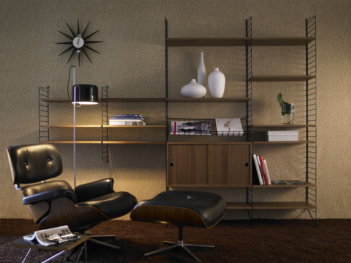 buy the string shelf system walnut black at. Black Bedroom Furniture Sets. Home Design Ideas