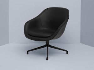 View Hay About a Lounge Chair Low AAL81 - Black Swivel Base