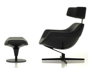 View Cassina 277 Auckland Armchair with Headrest - Black