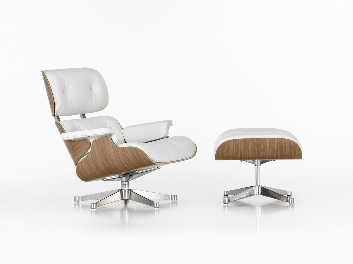 Buy the vitra eames lounge chair ottoman white at nest for Eames vitra replica