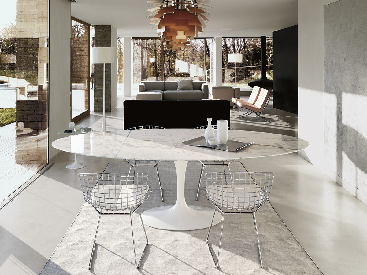 White marble meeting table combined with -  Knoll Saarinen Tulip Large Dining Table Oval